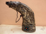 Antique silver gunpowder horn. Tibet. Ref. AAD