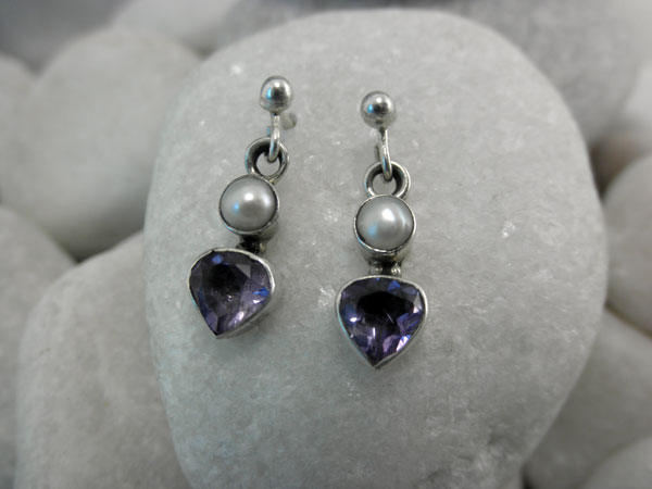 Sterling silver, Amethyst and Pearls earings.. Foto 2