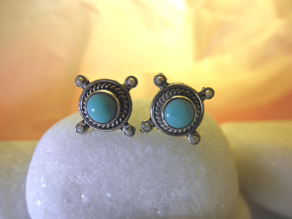 Turquoise and Sterling silver earrings.. Foto 1