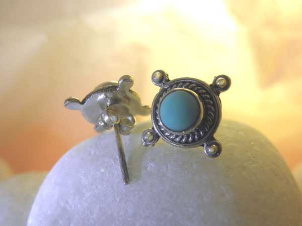 Turquoise and Sterling silver earrings.. Foto 2