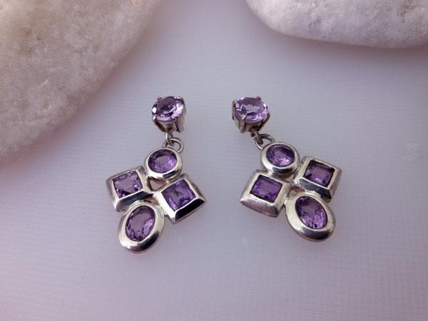 Amethyst and Sterling silver earrings.. Foto 1