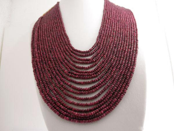 Collar de 17 lineas de rubis de Ceylan.. Ref. EBP