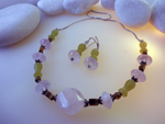 Sterling silver, Pink Quatz and Jade necklace and earrings set.. Ref. EMB