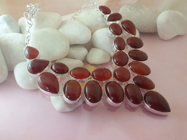 Collar artesanal de plata y gemas de Agata Cornalina.. Ref. EMQ