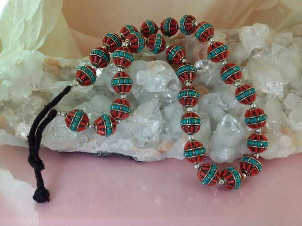 Collar etnico tibetano de coral y turquesa.. Ref. EMS