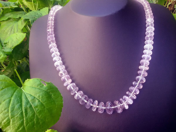 Collar de plata y gemas de Kunzita.. Ref. EMT