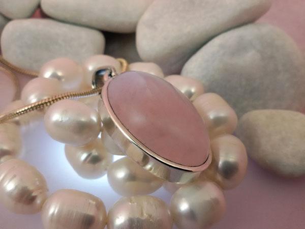 Colgante de plata y Cuarzo rosa de Brasil.. Foto 1