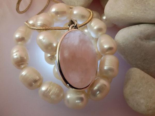 Colgante de plata y Cuarzo rosa de Brasil.. Foto 2