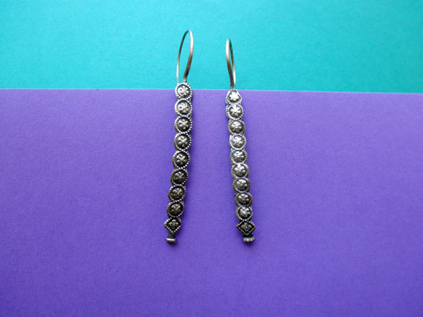 Pendientes artesanales etnicos de plata. Foto 2