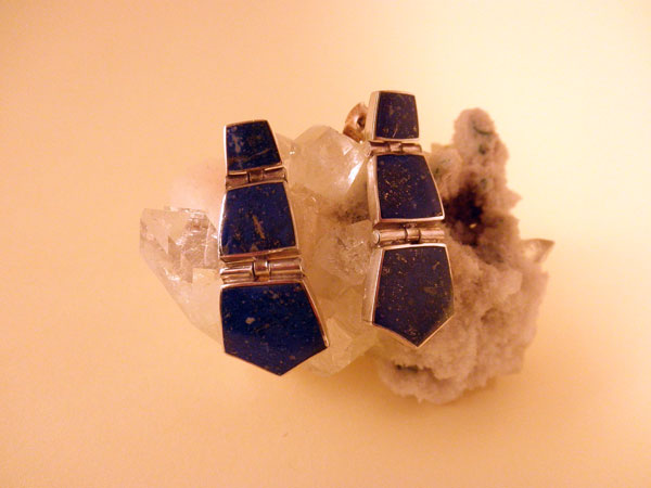 Lapis lazuli and Sterling silver earrings from Chile.. Foto 1