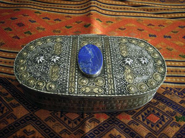 Antigua caja artesal de plata y bronce de Tajikistan.. Ref. JBT