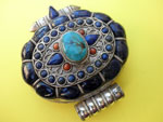 """Ga,u"" Silver and Lapislazuli Ethnic traditional pendant from Tibet.. Ref. JDM"
