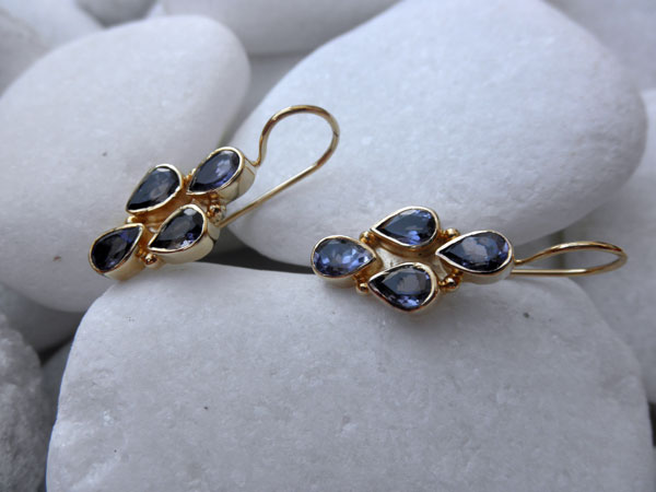 Iolite vintage silver earrings.. Foto 1