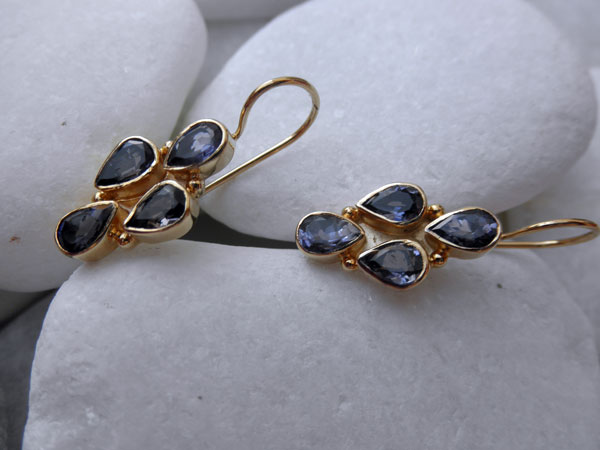 Iolite vintage silver earrings.. Foto 2