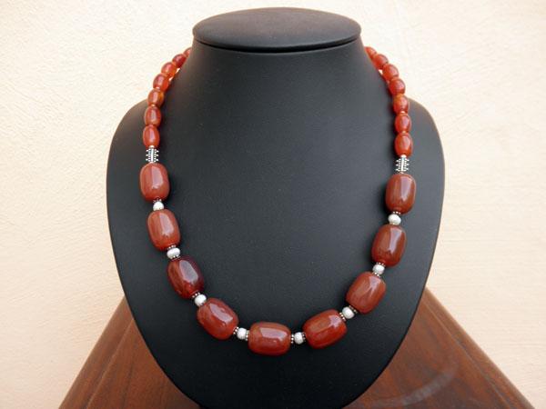 Esplendido collar de de plata, Agatas y Perlas. Ref. JHK