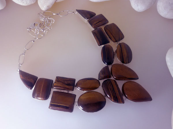 Tiger eye and Sterling silver necklace and bracelet set.. Foto 1