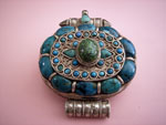 """Ga,u"" Silver and turquoise pendant, Tibet. Ref. JPG"