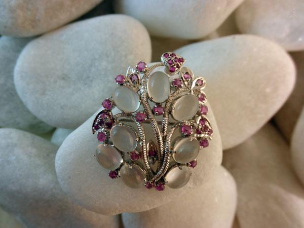 Vintage Handmade Sterling Silver, Moonstones gemstones and Rubis.. Foto 2
