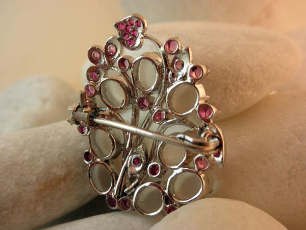 Vintage Handmade Sterling Silver, Moonstones gemstones and Rubis.. Foto 3