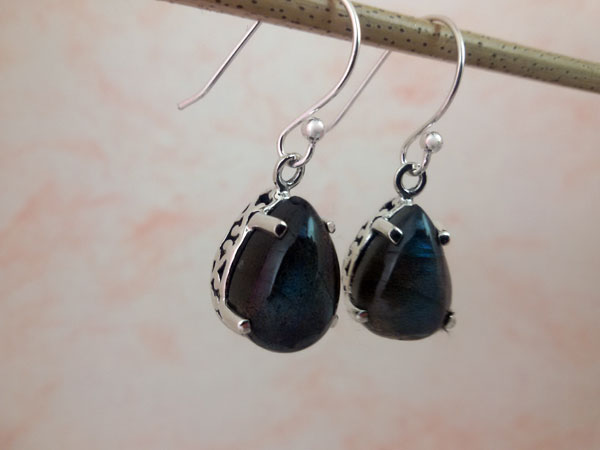 Madagascar Labradorite and Sterling silver earrings.. Foto 2