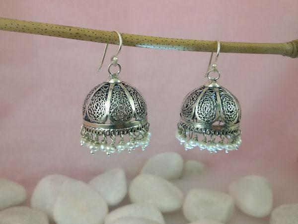 Ethnic Sterling Silver Earrings