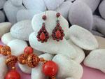 Pendientes artesanales tibetanos de plata y Coral.. Ref. MFT