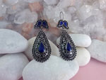 Lapis lazuli and sterling silver ethnic earrings.. Ref. MFW