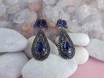 Pendientes etnicos artesanales elaborados en plata y lapis lazuli.. Ref. MFW
