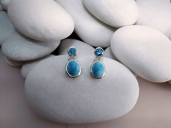 Larimar and Blue Topace Sterling silver earrings.. Foto 2
