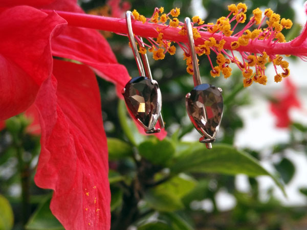 Sterling silver and smoky quartz earrings.. Foto 1