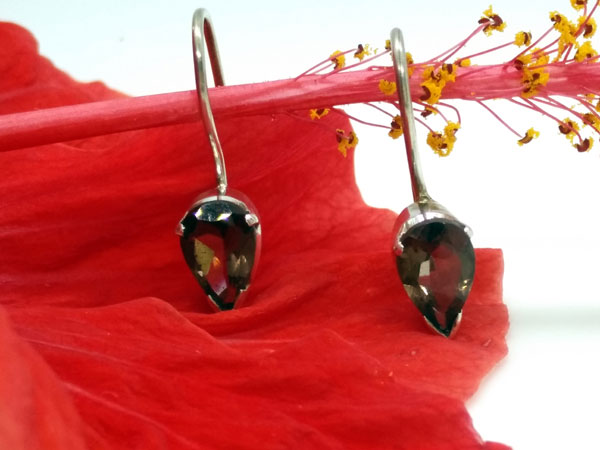 Sterling silver and smoky quartz earrings.. Foto 2