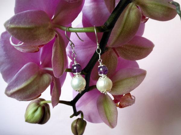 Pendientes de plata, amatista y perlas.. Foto 2