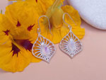 Ethnic earrings made of Sterling silver and Moonstone.. Ref. MIC