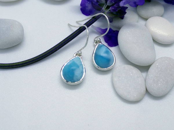 Larimar and Sterling silver earrings.. Foto 2