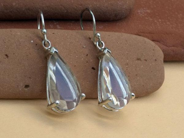 Pendientes etnicos de plata y cuarzo cristal de roca.. Ref. MIV