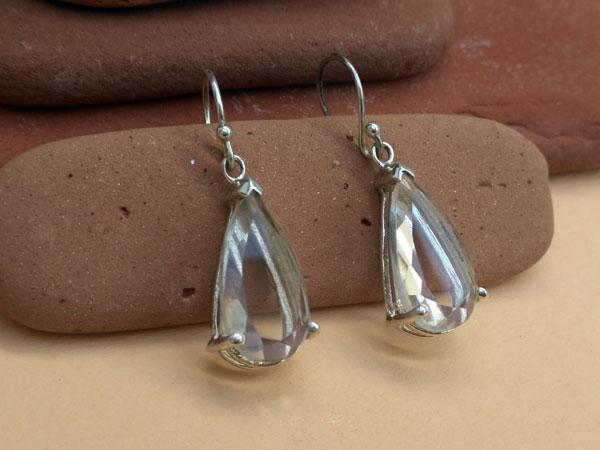 Pendientes etnicos de plata y cuarzo cristal de roca.. Foto 2