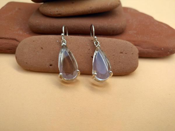 Pendientes etnicos de plata y cuarzo cristal de roca.. Foto 3