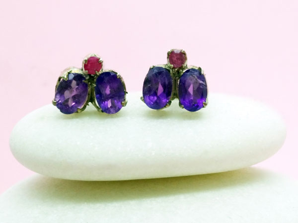 Ethnic Sterling silver, amethyst and ruby earrings.. Ref. MIZ