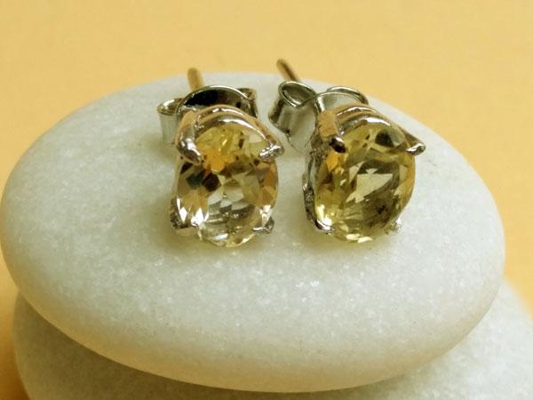 Pendientes de plata y gemas de cuarzo cetrino.. Ref. MJF
