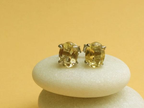 Pendientes de plata y gemas de cuarzo cetrino.. Foto 2