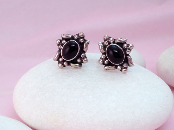 Ethnic Sterling silver and Onyx, black agate earrings,. Foto 2