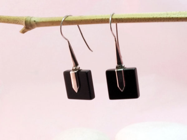 Ethnic Sterling silver and Onyx, black agate earrings.. Foto 2