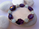 Sterling silver bracelet with amethyst and aquamarine gemstones.. Ref. NBP