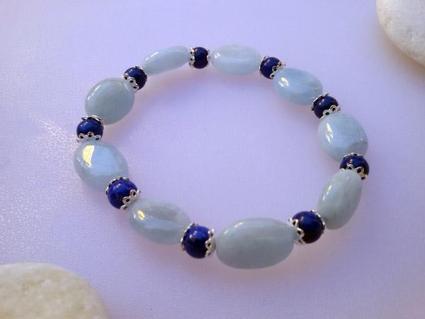 Pulsera de plata con gemas de aguamarina y lapis lazuli.. Ref. NBR
