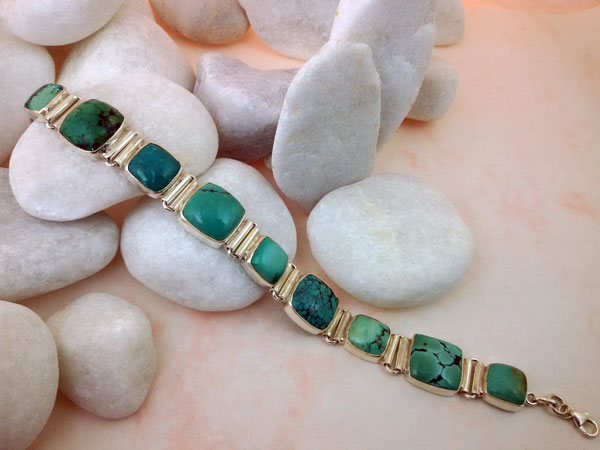 Turquoises and Sterling silver tibetan bracelet.. Foto 2