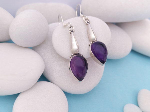 Amethyst and Sterling silver ethnic earings.. Foto 2