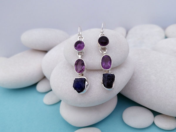 Ethnic earrings made of Sterling silver and Amethyst.. Ref. NED