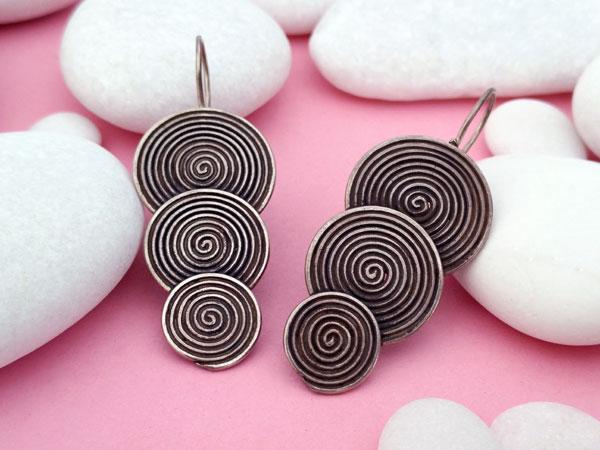 Ethnic earrings made of sterling silver, Karen.. Foto 1