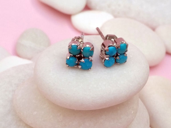 Ethnic earrings made of Sterling silver and Turquoises.. Foto 3