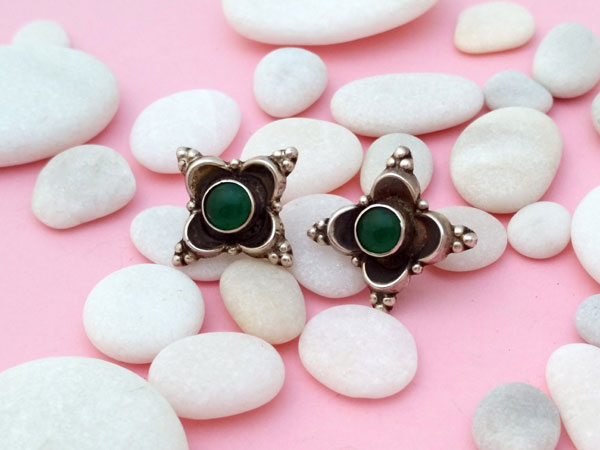 Handmade Sterling silver earrings with lapis green agate.. Foto 1